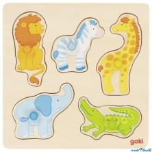 Puzzle pro nejmenší - Úchyt, Safari, 5ks (Goki)