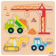 Puzzle pro nejmenší - Na desce, Stavební auta, 12ks (Goki)