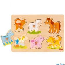 Puzzle odkrývací - Zvířátka s mláďaty, 6ks (Goki)