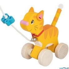 Tahací hračka - Kočička s motýlkem dřevěná (Goki)