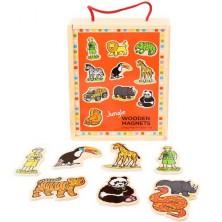 Magnetky - Jungle safari dřevěné, 20ks (Bigjigs)