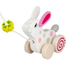 Tahací hračka - Králíček s jetelem dřevěný (Goki)