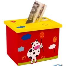 Pokladnička - Box červený s kravičkou (Legler)