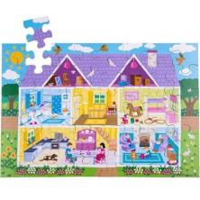 Puzzle dřevěné - Podlahové, Domeček, 48ks (Bigjigs)