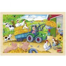 Puzzle na desce - Traktor na farmě, 24ks (Goki)