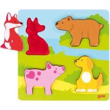 Puzzle hmatové - Zvířátka, 4ks (Goki)