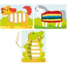 Šití - Obrázky ke tkaní, Tři zvířátka (Goki)