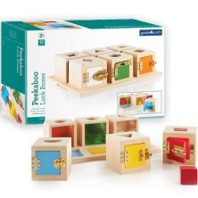 Vkládačka - Zamykací krabičky s tvary, 12k (Guidecraft)