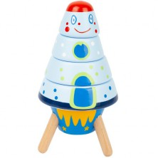 Skládačka s kroužky - Raketa Space dřevěná (Legler)