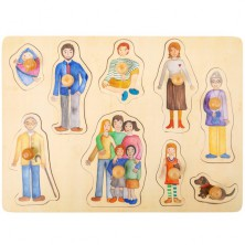 Puzzle vkládací - Rodina dřevěné, 9ks (Legler)