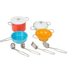 Kuchyň - Dětské nádobí set, Plechové barevné, 10ks (Legler)