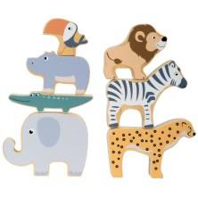 Motorická hra - Skládací zvířátka Safari dřevěná (Legler)