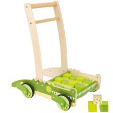 Kostky - Barevné ve vozíku, Chodítko krokodýl, 24ks (Legler)