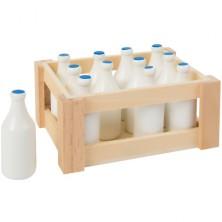 Prodejna - Zboží, Bedýnka s 12 láhvemi mléka (Legler)