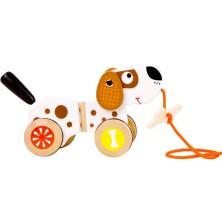 Tahací hračka - Pejsek s kostičkou dřevěný (Legler)