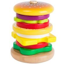 Skládačka s kroužky - Hamburger dřevěná (Legler)