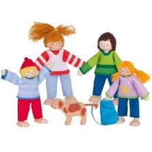 Panenky do domečku - Rodinka s pejskem, 5ks (Goki)