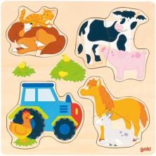 Puzzle pro nejmenší - Na desce, Farma, 12ks (Goki)