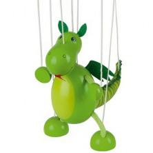 Loutka marioneta - Dinosaurus zelený dřevěný (Goki)