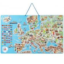 Puzzle magnetické - Mapa evropy v obrázcích, 3v1 (Woody)