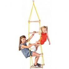Provazový žebřík - Věž, čvercové příčky (Woody)
