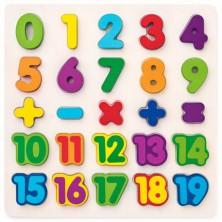 Puzzle výukové - Číslice na desce, 25ks (Woody)