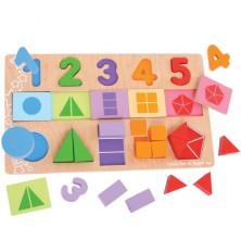 Puzzle výukové - Čísla, barvy a zlomky na desce (Bigjigs)