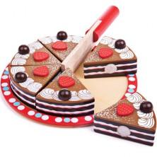 Krájení - Dort čokoládový dřevěný (Bigjigs)