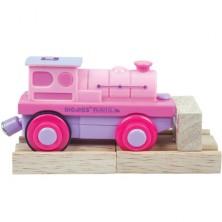 Vláčkodráha vláčky - Elektrická lokomotiva, Růžová (Bigjigs)