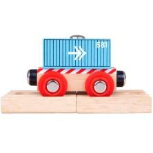 Vláčkodráha vláčky - Vagón modrý kontejner (Bigjigs)