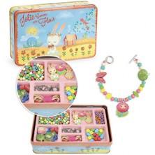 Navlékací perle - Korálky v kovovém boxu, Garden (Vilac)