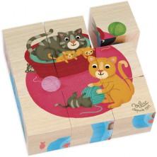 Kostky obrázkové 9ks - Zvířátka s mláďaty (Vilac)