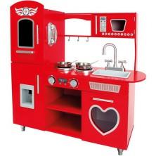Kuchyňka dětská - Dřevěná, Červená (Bino)