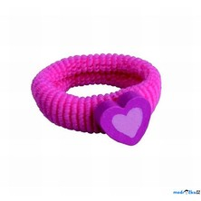 Dřevěná bižuterie - Vlasová gumička, Srdce růžové (Detoa)