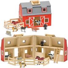 Stáj dřevěná - Stodola v kufříku se zvířátky (M&D)