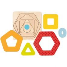 Puzzle vícevrstvé - Geometrické tvary menší, 5 vrstev (Goki)