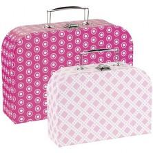 Kufřík dětský - Set 2 kufříků, Růžové vzory (Goki)