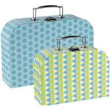 Kufřík dětský - Set 2 kufříků, Modré vzory (Goki)