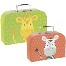 Kufřík dětský - Set 2 kufříků, Žirafa a zebra (Goki)