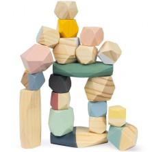 Kostky - Barevné, Sweet Cocoon kameny, 20ks (Janod)