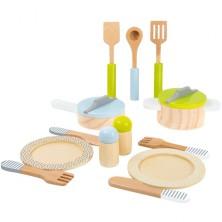 Kuchyň - Sada dřevěného nádobí s talíři a příbory (Legler)