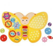 Šití - Provlékací dřevěný motýlek žlutý (Goki)