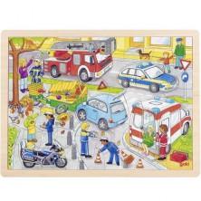 Puzzle na desce - Velké A3, Policejní zásah, 56ks (Goki)