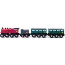 Vláčkodráha vláčky - Parní lokomotiva s uhlím a osobními vagony (Woody)