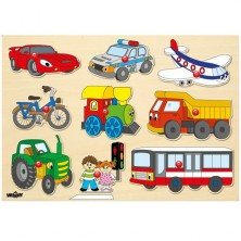 Puzzle vkládací - Dopravní prostředky, 9ks (Woody)