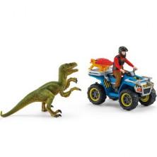 Schleich - Dinosaurus set, Útěk před Velociraptorem na čtyřkolce