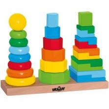 Skládačka - Nasazování na tyč, Set skládacích věží (Woody)