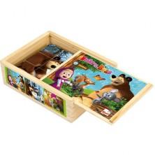 Kostky obrázkové 12ks - Máša a Medvěd dřevěné (Bino)