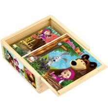 Kostky obrázkové 9ks - Máša a Medvěd dřevěné (Bino)