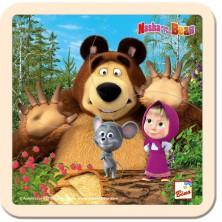 Puzzle pro nejmenší - Na desce, Máša a Medvěd s myškou 15x15cm (Bino)